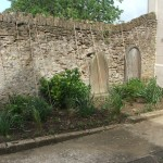 Garden area to the left of the church entrance.